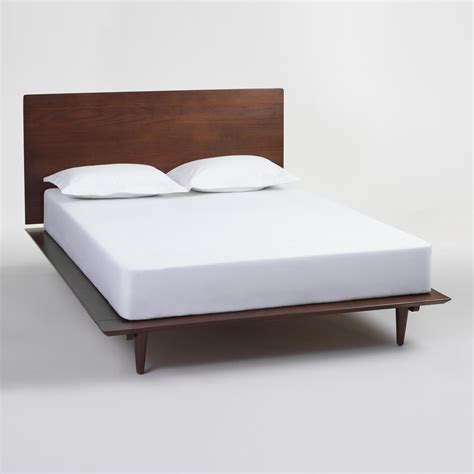 queen bed walnut brown wood barrett queen bed world market