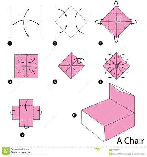 How To Make A Paper Chair - step by step how to make origami a chair