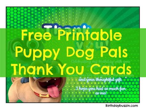 printable thank you cards dogs free printable puppy dog pals thank you cards birthday