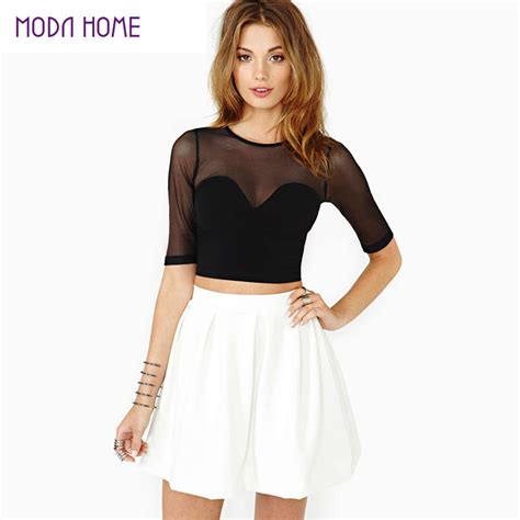 Best Quality Flaw Crop Black top quality crop top mesh cutout sweetheart neckline tops sleeve