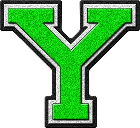 presentation alphabets kelly green varsity letter y