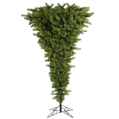 upside down christmas tree 7 5 foot green upside down christmas tree all lit lights
