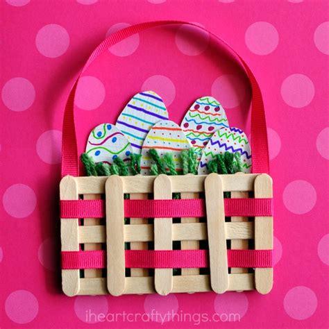 easter basket craft craft sticks mini easter basket craft i crafty things