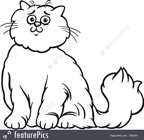 illustration of persian cat cartoon coloring page