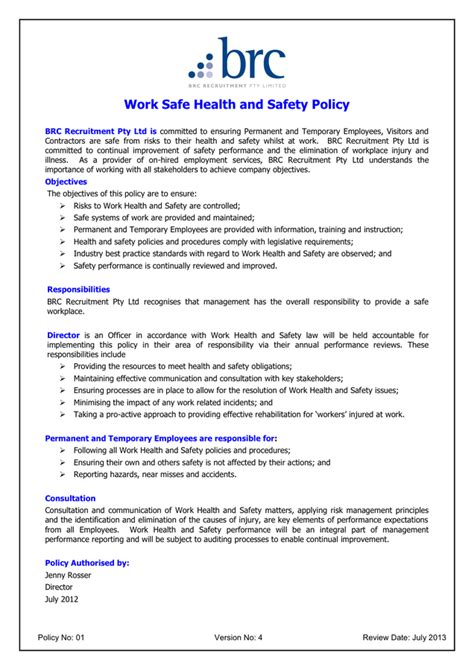 work health and safety policy templates health and safety policy template in word and pdf formats