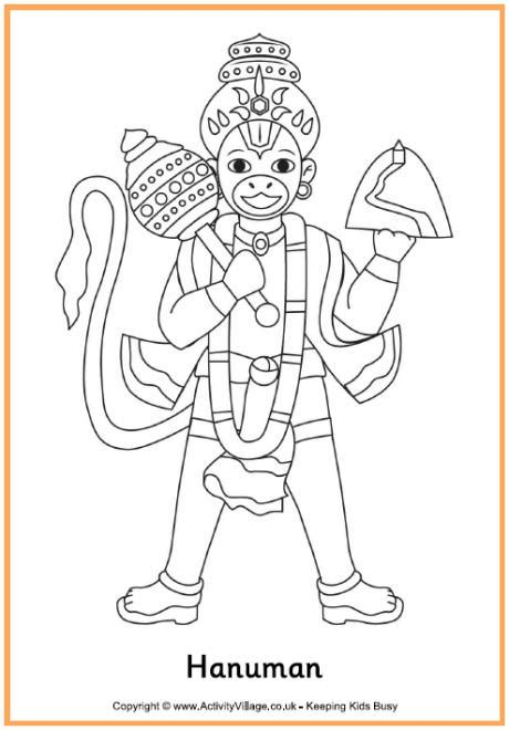 hanuman colouring page 2