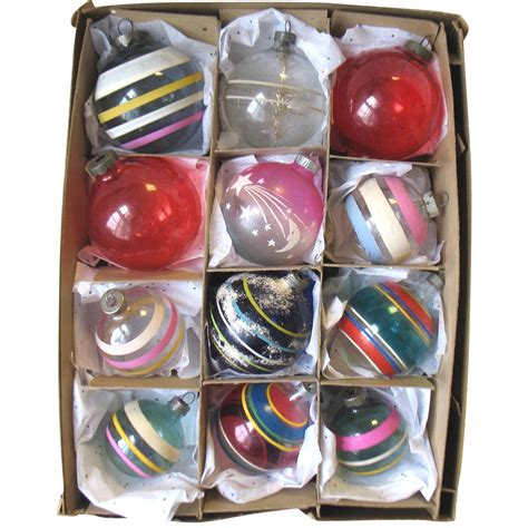 set of 12 vintage glass christmas ornaments unsilvered