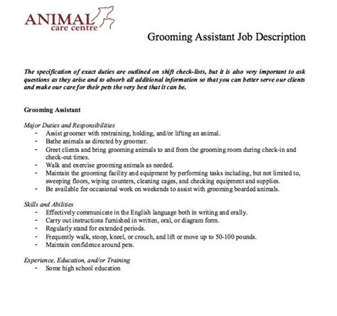 Groomer Resume by Groomer Description Resume Free Professional Resume Templates Resumedaddy Co