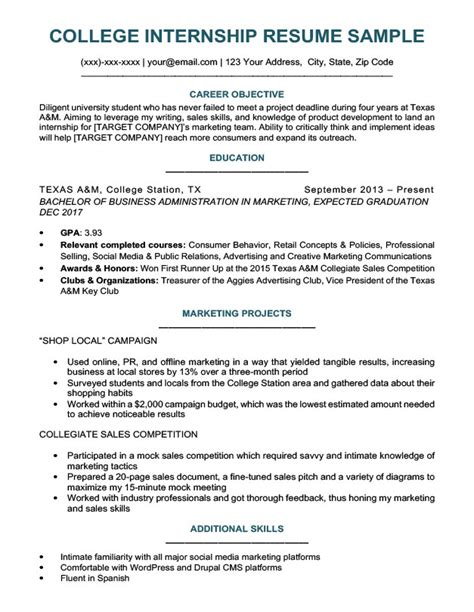 college resume template for internship college student resume sle writing tips resume companion