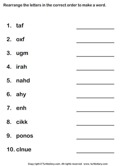 5 Letter Words Unscramble worksheet for grade 1 letter practice writing the letter