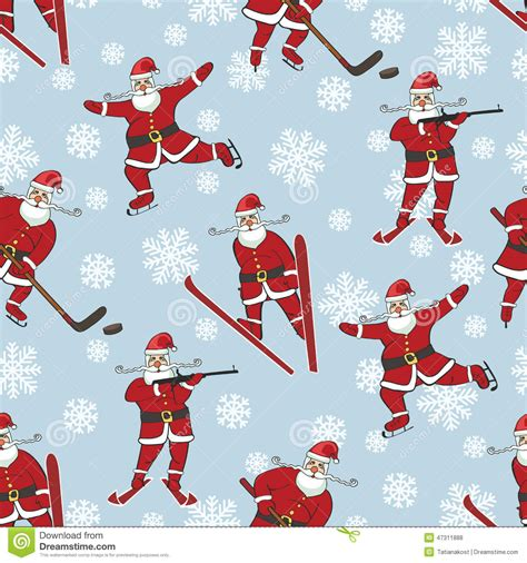 santa playing winter sports seamless pattern stock photo
