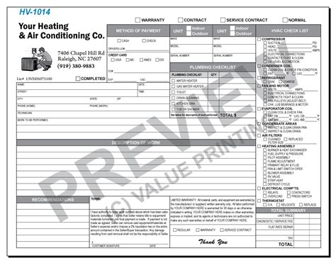 Hvac Service Order Invoice Invoice Template Ideas Plumbing Warranty Template