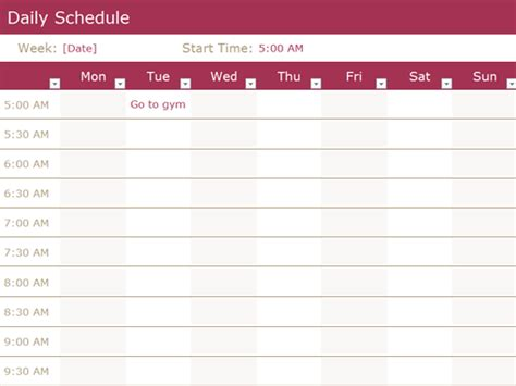 everyday schedule template schedules office