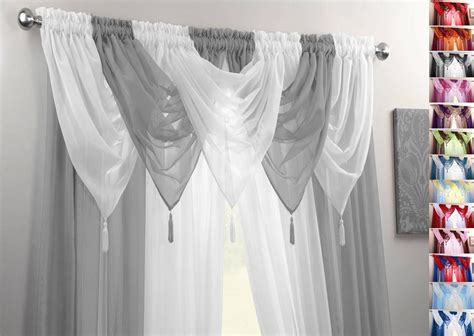 White And Silver Curtains Silver White Voile Swags Curtain Panels 9 Peice Set 54 Quot 72 Quot 90 Quot Drop Ebay