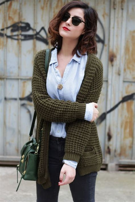 olive green cardigan light blue oxford shirt faded