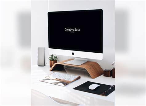 imac desk imac office setup mockup mockupworld