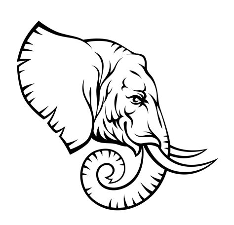 elephant tattoo template black outline elephant head tattoo stencil