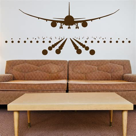 aeroplane wall stickers airplane landing on the runway wall decals