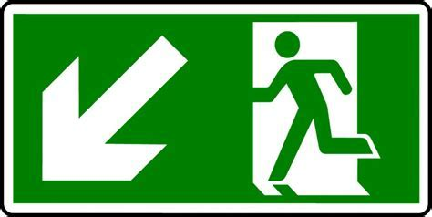 Emergency Exit Sign   Man with Down Left Arrow