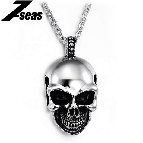 Kalung Titanium Liontin Tengkorak Skull Gold mix order new arrival personalized skull pendant stainless steel necklaces best gift for 807