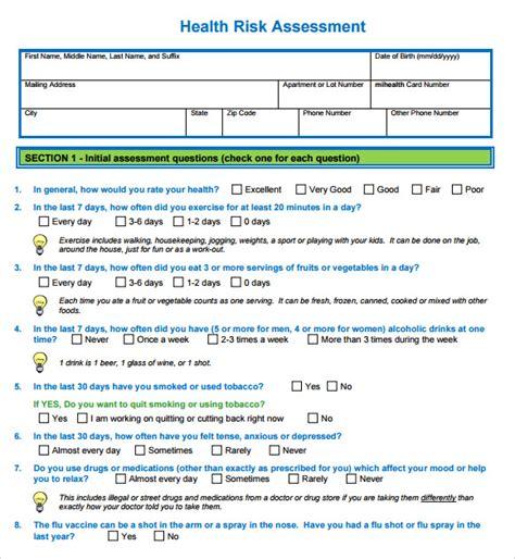 health risk assessment template 10 sle health risk assessments sle templates