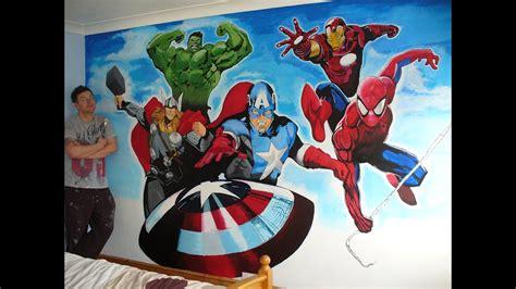 avengers  spiderman mural  drew allan drews