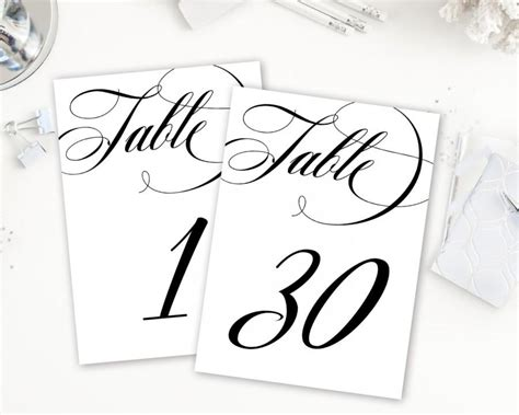 free printable table numbers calligraphy table numbers table numbers printable