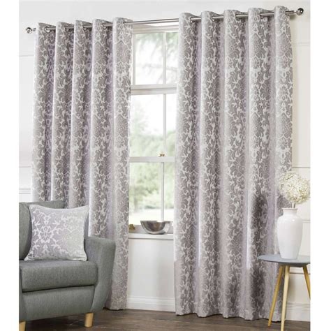 damask curtain camden damask silver woven chenille lined eyelet curtains