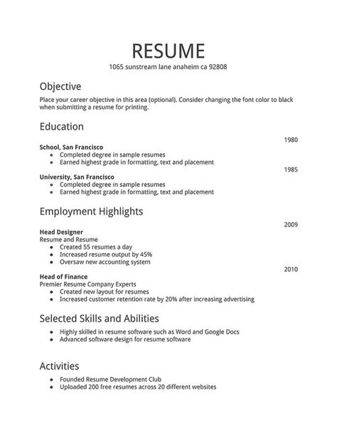 Resume Template Simple by Best 25 Simple Resume Exles Ideas On