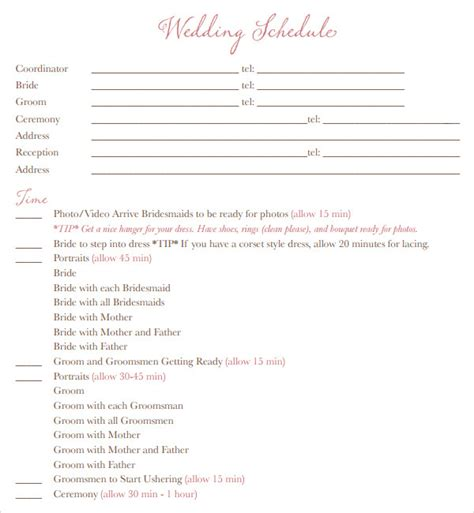 wedding day schedule template 9 best images of wedding schedule free printable