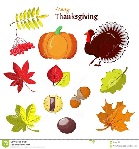 Thanksgiving Card Template Free Illustrator by Thanksgiving And Autumn Decorative Elements Stock Photo