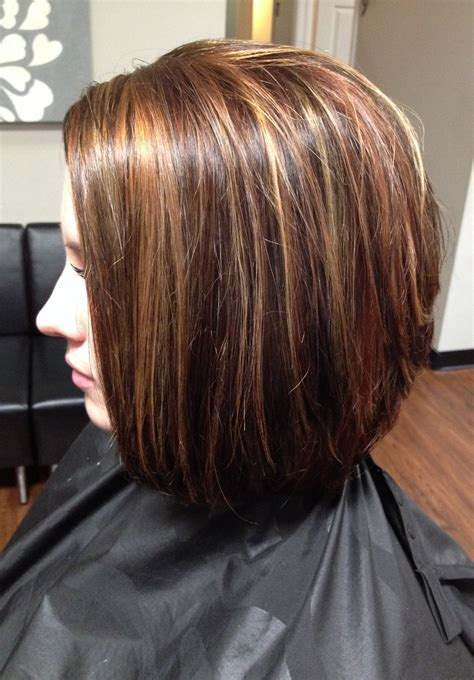 bob hair lowlights hair color lowlights and highlights cut stacked in the