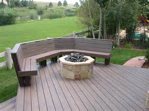 Can You Put Fire Pit On Wood Deck by Trex Deck With Benches Amp Fire Pit Halliday Built Decks