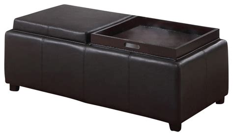 Brown Leather Ottoman With Tray Faux Leather Storage Ottoman With Reversible Tray Transitional Accent And Storage