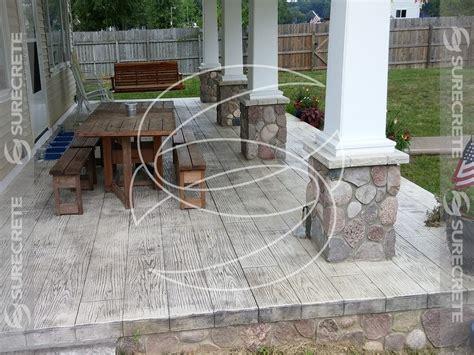 concrete wood plank porch patio