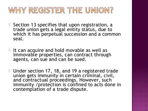 section 17 registration act the trade unions act 1926 ppt final presentation ues