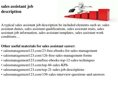 sales assistant description