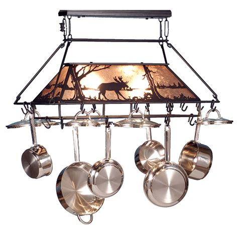 Ceiling Pot Rack With Lights Meyda 73371 Moose At Lake Lighted Pot Rack