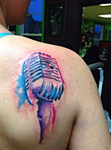 microphone watercolor tattoo watercolor microphone tattoo by robert winter watercolor