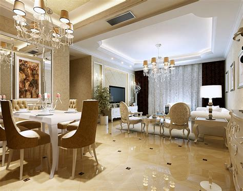 Living And Dining Room Design by European Luxury Dining Living Room Interior Design 3d
