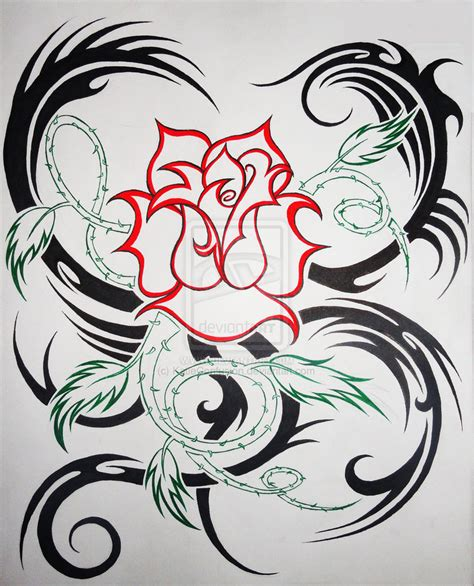 my love is tattoo tribal rose tattoo