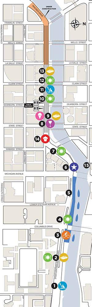 chicago riverwalk map riverwalk gains three concessions loses three loop
