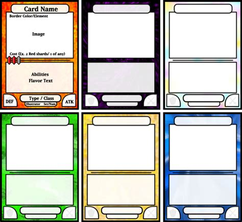 magic card template print board card template board cards