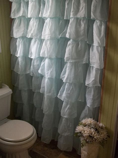 shabby chic waterfall ruffle spa blue shower curtain