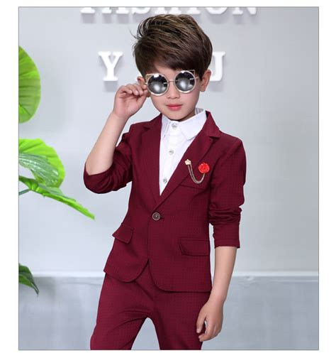 set of 3 fancy coat child blazers suits coat pant brooch 3 pieces boys clothing 2 10t wedding flower