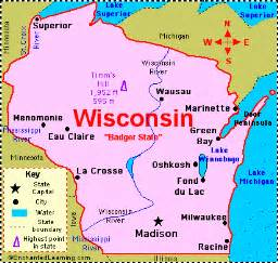 wisconsin on a map of the united states map of wisconsin cities