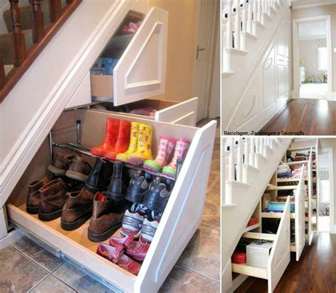 home storage options space saving under stairs hidden shoe storage idea with