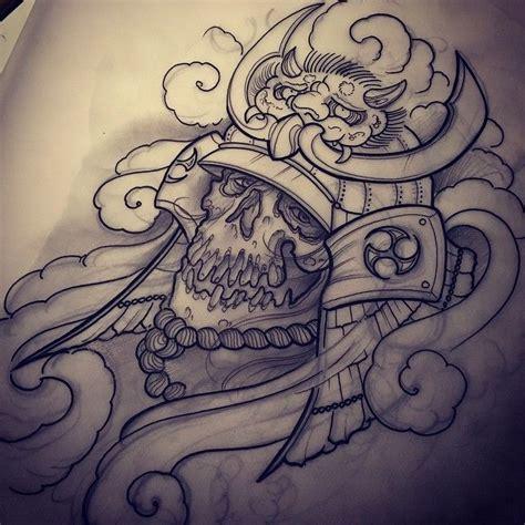 tattoo oriental drawing samurai skull design tattoos pinterest skull design