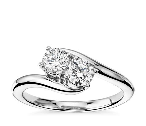 two solitaire ring in 14k white gold 3 4 ct