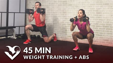 45 min weight workout abs home strength dumbbell workout